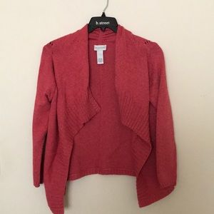Soft Surroundings Coral Red Open Front Cardigan